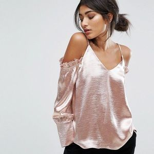 J.O.A. Pink Metallic Cold Shoulder Top